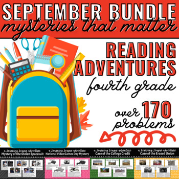 September Reading Learning League Adventures- 4th Grade *GROWING BUNDLE*