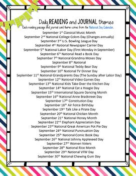 September Reading Passages
