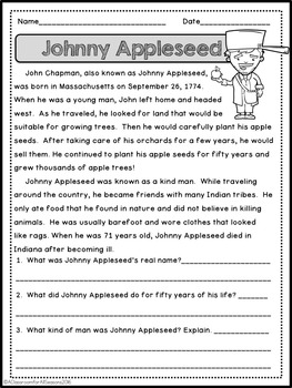 September Reading Comprehension Passages by A Classroom for All ...