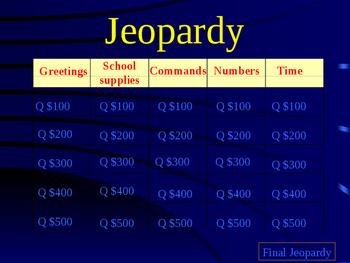 September Review Jeopardy