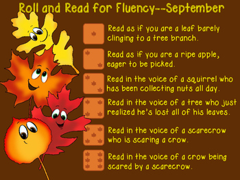 September Roll and Read for Fluency
