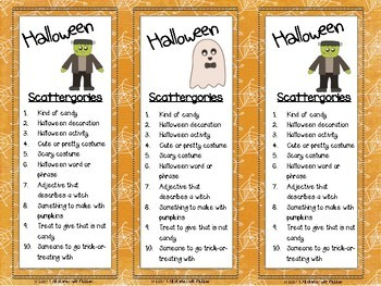 October Scattergories Games