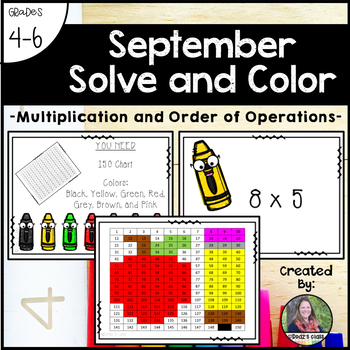 September School Solve and Color (Multiplication and Order of Operations)