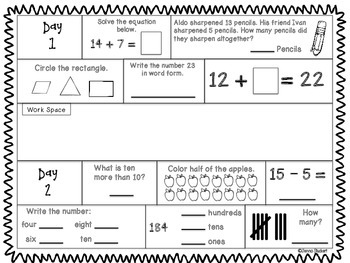 September Second Grade Daily Math