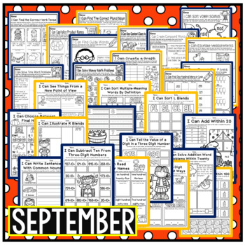September Second Grade Math and Literacy Packet NO PREP Common Core Aligned
