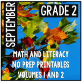 September Second Grade Math and Literacy Packet NO PREP Co
