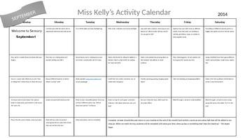 September Sensory Calendar