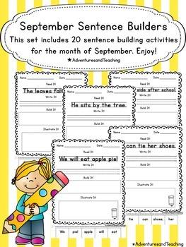 September Sentence Builders {morning work, word work, daily 5, & centers}