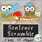 September Sentence Scramble - Common Core Aligned