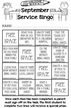 September Service Bingo