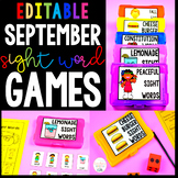 September Sight Word Games - Editable