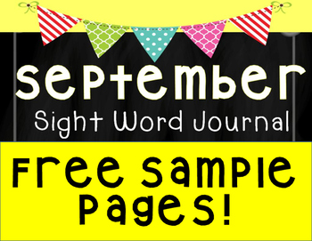 September Sight Word Journal Sample Pages FREEBIE