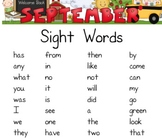 September Sight Words Packet