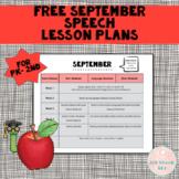 FREE September Speech Lesson Plans PK-2nd