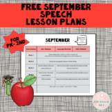 FREE September Speech Lesson Plans PK-2nd