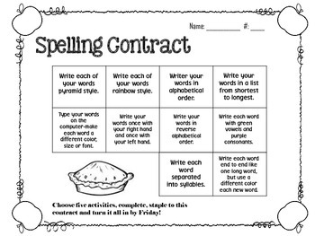 September Spelling Contracts-5 Weeks