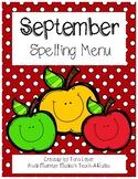 September Spelling Menu