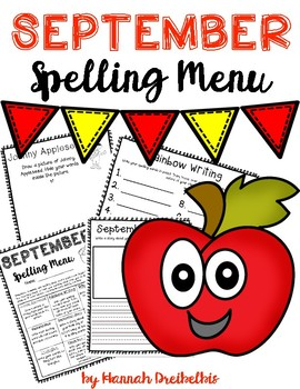 September Spelling Menu (NO PREP!)
