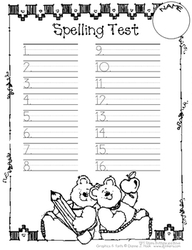 Spelling Test Papers // Bears with School Supplies