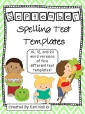 September Spelling Test Templates