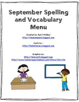 September Spelling and Vocabulary Menu - Freebie