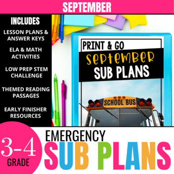 September Sub Plans for 3rd-4th Grade: Ready-to-go lesson plans & activities
