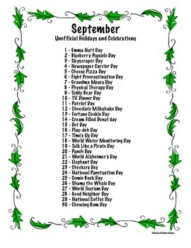 September's Unofficial Holidays & Celebrations: Daily Info and Activities