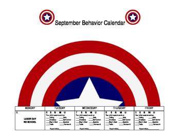 Superhero September Behavior Calendar