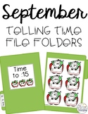 September Telling Time File Folders for Special Education