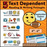 September Text Dependent Reading - Text Dependent Writing Prompts (Option 3)