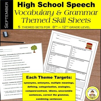 September Speech Therapy Theme-Based Vocabulary and Gramma