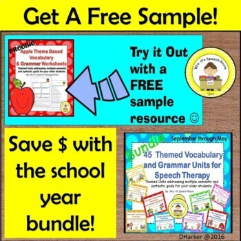 September Speech Therapy Theme-Based Vocabulary and Grammar Worksheets