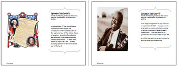 """September Themed """"Daily Editing"""" Writing Task Cards, Fun History Integration!"""