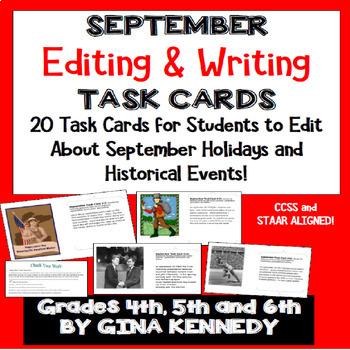 September Editing, Daily Writing Task Cards, Fun History Integration!