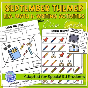 September Themed Adapted Unit for Autism Unit or Early Elem. (Math,ELA&Writing)