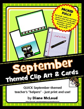 September Themed Blank Cards and Clip Art—a PACKED file!! Print and use!