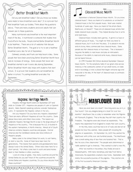 September Themed Close Reading Passages (Informational Text) RI.1