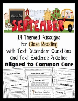 September Close Reading 4 Leveled Passages (Informational Text) RI.1