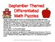 September Themed Differentiated Math Puzzles (SAMPLE)