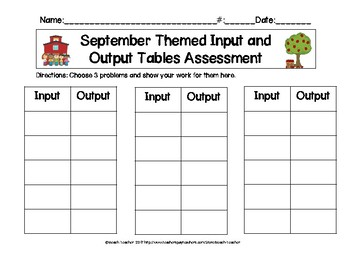 September Themed Input and Output Tables