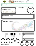 September Themed Piano Lesson Assignment Sheet