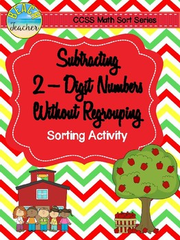 September Themed Subtraction Without Regrouping Sorting Activity & SCOOT