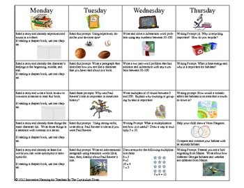 September Third Grade Homework Calendar