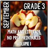 Distance Learning September Third Grade Math and Literacy Packet NO PREP