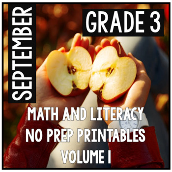 September Third Grade Math and Literacy Packet NO PREP Com
