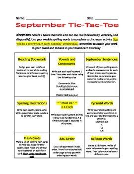 September Tic-Tac-Toe Spelling Packet