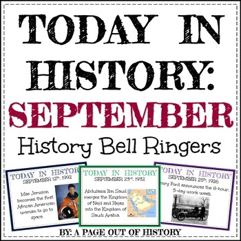 September Today in History Bell Ringers (EDITABLE)