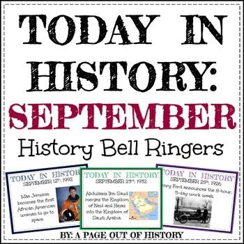 September Today in History Bell Ringers (EDITABLE)