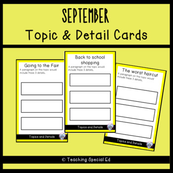 September Topic and Detail Cards