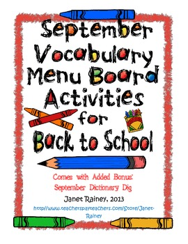 September Vocabulary Choice Board Activities for Back to School